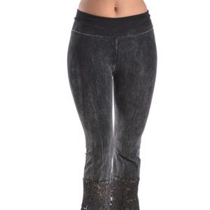 T Party Black Lace Wide Bell Bottom Yoga Pants
